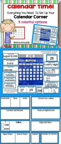 Calendar Time-Everything you need to set up your calendar corner... won't take up all your wall space!   Also available in Spanish :) Created by Alma Almazan