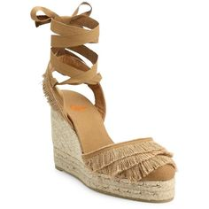 Castaner Cala Feathered Canvas Espadrille Wedge Sandals ($200) ❤ liked on Polyvore featuring shoes, sandals, apparel & accessories, camel, ankle strap platform sandals, wedge espadrilles, espadrille wedge sandals, platform espadrilles and platform sandals
