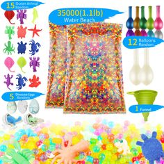 Water Beads Rainbow Mix Orbies Water Gel Beads Non-Toxic Growing Sensory Beads for Kids Spa Refill Sensory Toys DIY Stress Ball and D'cor By Zoneyee * To view further for this item, visit the image link. (This is an affiliate link)