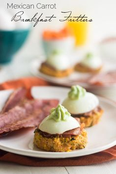 Mexican Carrot Fritters with Bacon and Egg - A creative and fun breakfast that is light and healthy. Perfect to keep you full until lunch! | Foodfaithfitness.com | #recipe