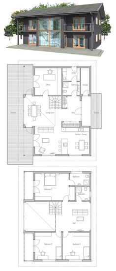 Small Home Plan, three bedrooms, two living areas.