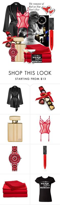 """She knew New Year's Eve was special, satin sheets, wine, fireworks on New Year's Eve"" by linda-caricofe ❤ liked on Polyvore featuring moda, Agent Provocateur, Chocolat Moderne, Gucci, L'Agent By Agent Provocateur, Christian Dior, Burberry, Impressions, LSA International e lingerie"