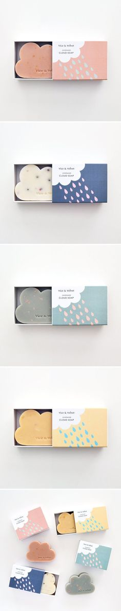 When you see clouds, think of soap! Or at least that's what I get from this effective and creative branding design for soap. The soap product itself is in the shape of a cloud and comes in various pastel colors. The package branding was made to reflect the product by incorporating simple cloud shape designs and using the same pastel colors as the soap. The package layout is consistent by placing the cloud, text, and logo in the same areas throughout the different designs.