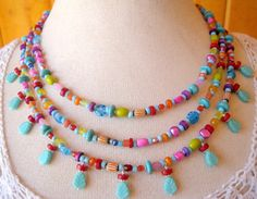 Multi Strand Glass Bead Necklace, Hippie Necklace, Spring Fashion Jewelry, Colorful Necklace, Statement Necklace via Etsy