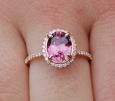 Engagement ring. Pomegranate sapphire ring. Rose gold oval