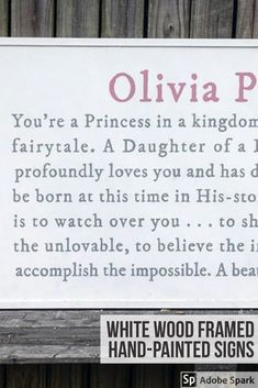 You're a princess in a kingdom far greater [white frame] Benjamin Moore Ocean Air, Hand Painted Signs, White Wood, Interior And Exterior, Love You, Frame, Inspiration, Design, Picture Frame