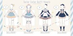 [OPEN] Sailor Collar Outfit Adopts   Auction by Black-Quose