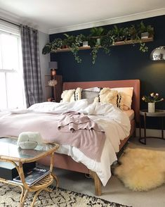 home decor blue My Hague blue bohemian style bedroom with pink accents and plant shelf Bedroom Green, Dream Bedroom, Home Decor Bedroom, Bedroom Wall, Blue And Pink Bedroom, Master Bedroom, Blue Bedrooms, Bedroom Ideas, Shelves In Bedroom