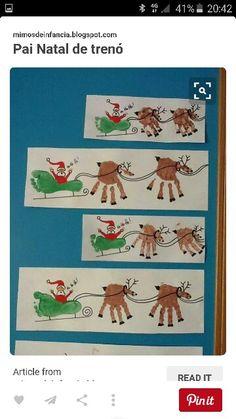 Christmas Sleigh Childrens Painted Handprints