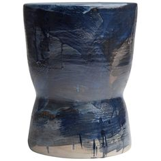 """Indigo 01 Bench"" Ltd. Ed. Partially Glazed Stoneware Stool by Pascale Girardin 1"