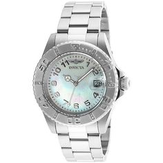 Invicta Women's Pro Diver Diamond Stainless Steel Mother of Pearl Dial ($80) ❤ liked on Polyvore featuring jewelry, watches, diamond dial watches, diamond wrist watch, diamond watches, bezel watches and stainless steel jewellery