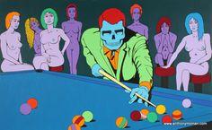 The Hustler.2012.Acrylic on canvas. #PaulNewman #theHustler #instapop #instaart #popart #instacolor #colour #pool #billiards #instapop #art #gallery #contemporaryart