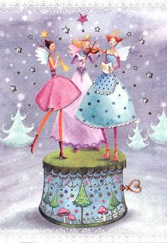 cute picture to paint for Ashley, Christmas card folded by Mila Marquis, MarquisWonderland Illustration Noel, Christmas Illustration, Illustrations, Christmas Music Box, Christmas Art, Xmas, Birthday Greetings, Birthday Wishes, Decoupage