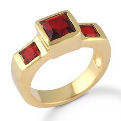 Garnet Hydro Quartz Gemstone Jewelry Gold Plated Brass / Bronze Ring SZ 6 #Rinnga