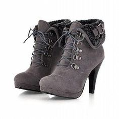 Carol Shoes Fashion Women's Buckle Lace-up Chic Platform High Heel Ankle Boots by AislingH