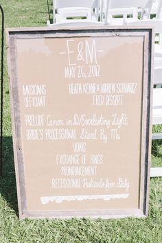 Southern wedding - oversize ceremony program