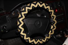 Black and Gold Wheel Cover - Steering Wheel Cover - Black and Gold Chevron Cover- Car Accessories. by SouthernAplus on Etsy