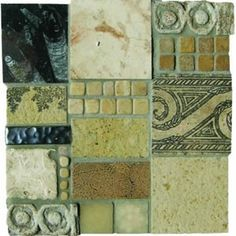 Mosaic Madness Beige Black Stone Mix 8 x 8 Hand Painted Ceramic Tile Painting Ceramic Tiles, Faux Painting, Mosaic Tiles, Mosaic Madness, Decorative Tile, Hand Painted Ceramics, Beige, Stone, Heart