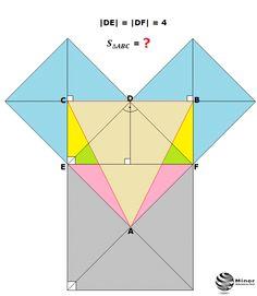 Na zewnątrz trójkąta prostokątnego, równoramiennego o przyprostokątnej długości 4, zbudowano kwadraty. Jednym z boków każdego kwadratu jest bok tego trójkąta. Punkty przecięcia przekątnych kwadratów wyznaczają trójkąt. Oblicz pole otrzymanego trójkąta. Calculate the area of triangle ABC.