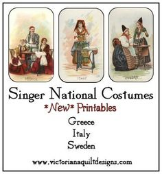 Singer National Costumes Printables - Greece, Italy, Sweden #free #quilting #sewing
