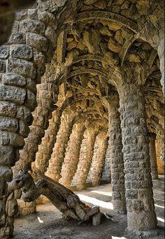 Columns - Park Güell by Antoni Gaudí , Barcelona, Spain