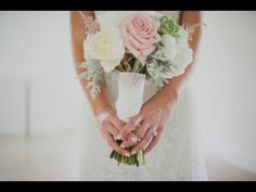 Bridal Bouquet by Root Floral Design Photo by Heirloom Collective  From Lafayette, La & New Orleans, La Monogrammed wedding wrap with Father's initials. Hydrangeas, peonies, garden roses, astilbe, succulents, dusty miller, silver brunia, wedding flowers, light pink, ivory, mint, grey
