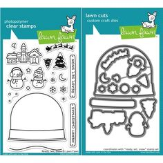 2015  Lawn Fawn SET LF15SETRSS CHRISTMAS SNOWGLOBE Clear Stamps and Dies LF15SETRSS