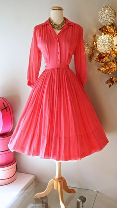 1950s+Dress+//+Vintage+50's+Pretty+in+Pink+Silk+by+xtabayvintage