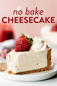 Creamy and smooth No Bake Cheesecake with a thick buttery graham cracker crust! This easy no bake cheesecake recipe only requires a handful of simple ingredients. sallysbakingaddiction.com #nobakerecipes #cheesecake #desserts No Bake Cheesecake Filling, Baked Cheesecake Recipe, Best Cheesecake, Homemade Cheesecake, Cheesecake Bites, Cheesecake Desserts, Cheesecake Decoration, Banana Cheesecake, Classic Cheesecake