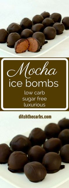 Seriously luxurious!!! This is an incredibly easy recipe for mocha ice bombs that are not only low carb they are sugar free too. | ditchthecarbs.com via @ditchthecarbs