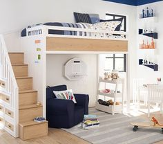 Designed to fit in the smallest of spaces, our Small Ladder Bookcase's contemporary design goes with any style. Crafted with three spacious shelves, this piece keeps your little one's books, awards and more neatly displayed and organiz… Adult Bunk Beds, Kids Bunk Beds, Loft Beds, Bookshelves Kids, Ladder Bookcase, Small Ladder, Bunk Beds With Stairs, Pottery Barn Kids, Contemporary Design