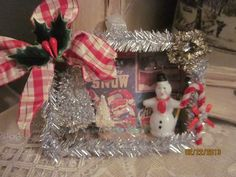 Vintage Christmas ornament shadow box snowman bottle brush tree tinsel on Etsy, $15.00
