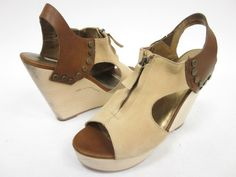 CYNTHIA VINCENT Beige Brown Leather Wedges Size 8.5 at www.ShopLindasStuff.com