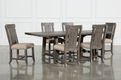 """The Jaxon Grey 7-piece dining collection – which includes a rectangle extension table and 6 wood side chairs – allows you to enjoy one of our most popular rustic styles in a brand new grey finish. Distinguished by all natural 100% solid pine construction, these designs offer fresh color, unique texture and rugged character that will enrich your meals. The rectangle dining table features a classic trestle base, metal bolt detail and a 20"""" extension leaf, so you can expand your guest list. The…"""