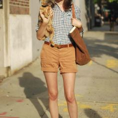 For a warm day. Zookeeper shorts, gingham, leather belt