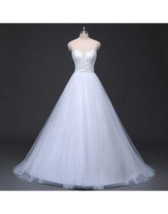 luxusní bílé svatební tylové šaty s krajkou Suzanne XS-S - Hollywood Style…