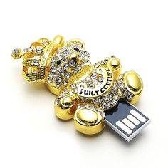 Golden Crystal Bear King with Crown Jewelry USB Flash Memory Drive Necklace-Aulola Online Store