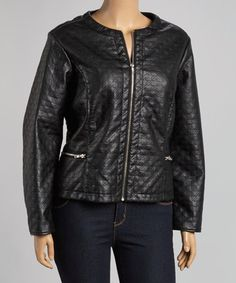 Look at this #zulilyfind! Black Quilted Square Zip-Up Jacket - Plus by BACCINI #zulilyfinds