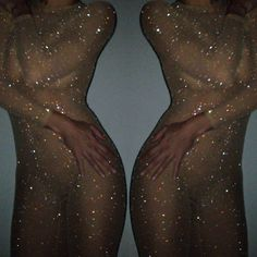 Crystallized sheer micro-mesh, long sleeved body stocking with zipper in back and stirrup foot. Designed to be used to give the illusion of skin.