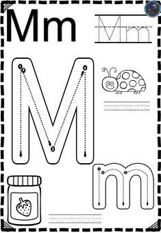 Fichas Abecedario direccional - Imagenes Educativas Jolly Phonics Activities, Kids Math Worksheets, Preschool Learning Activities, Preschool Curriculum, Preschool Lessons, Kids Learning, Preschool Letter M, Preschool Writing, Kindergarten Homework