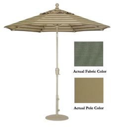 9' Crank Tilt Patio Market Umbrella - Champagne: Stone Green