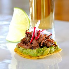 Barbacoa Beef Cheek Tostaditos in the Slow Cooker