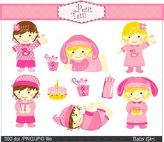 baby girl clip art  pink babies girls  instant by petittatti, $5.00
