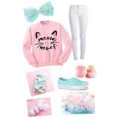 Pastel color themed clothes. by smaga85 on Polyvore featuring polyvore, fashion, style, Pieces, Vans and Eos