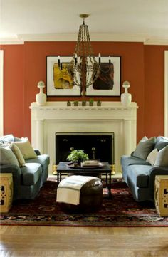 Burnt Orange wall... close enough for us! decorology: Summer Living Room Décor Ideas