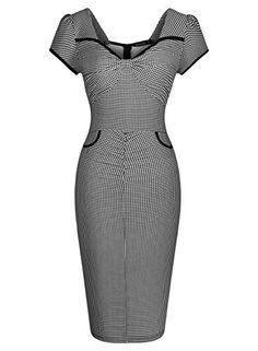 Miusol Women's Deep-V Neck Formal Plaid Slim Evening Dress Go to the website to read more description. Best Prom Dresses, Sexy Dresses, Vintage Dresses, Beautiful Dresses, Nice Dresses, Evening Dresses, Vintage Outfits, Short Dresses, Fashion Dresses