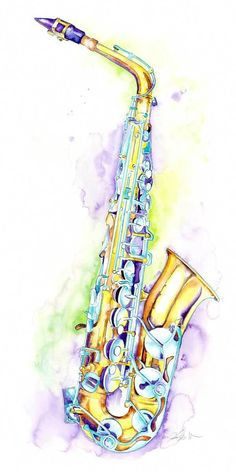 Alto Saxophone Art by Jamie Hansen. Gift for a jazz musician or saxophone player. Saxophone Instrument, Saxophone Music, Art Music, Music Artwork, Indie Music, Soul Music, Tattoos, Musicals, Watercolor And Ink