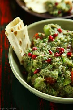 Fabulously Christmas hued, yet equally wonderful all year round: Roasted Eggplant Dip with Pomegranates. #food #dip #eggplant #snacks #party #appetizers