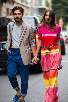 Patricia Manfield in a tie-dye tee and maxi skirt