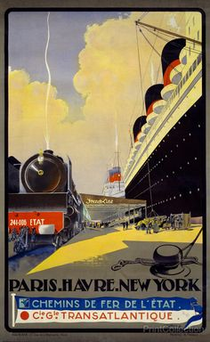 NY to Paris vintage poster